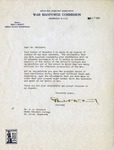 Letter, Man of War Commission to Dudley Brainard [November 10, 1943] by Man of War Commission